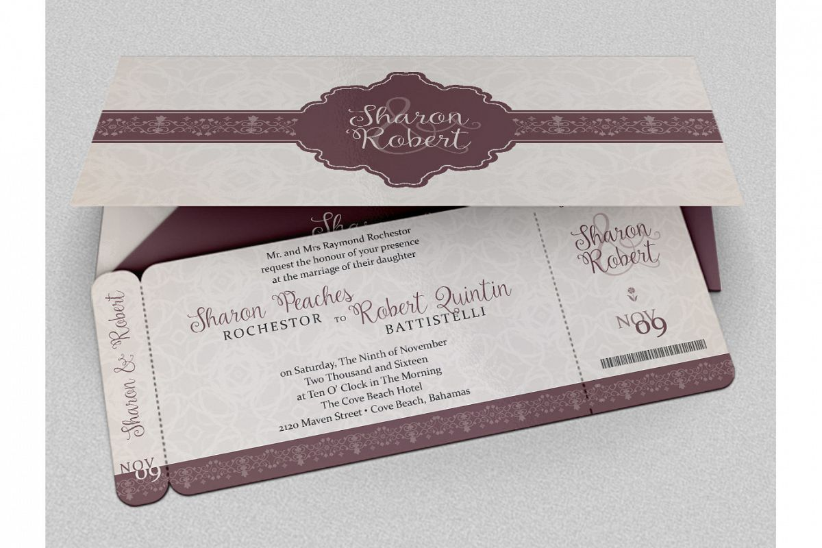Wedding boarding pass invitation templa design bundles wedding boarding pass invitation template example image stopboris Image collections