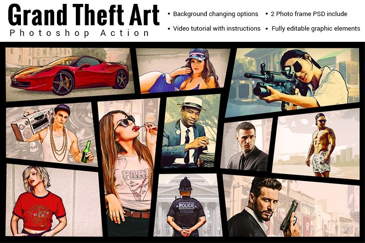 Grand Theft Art Photoshop Action example image 1