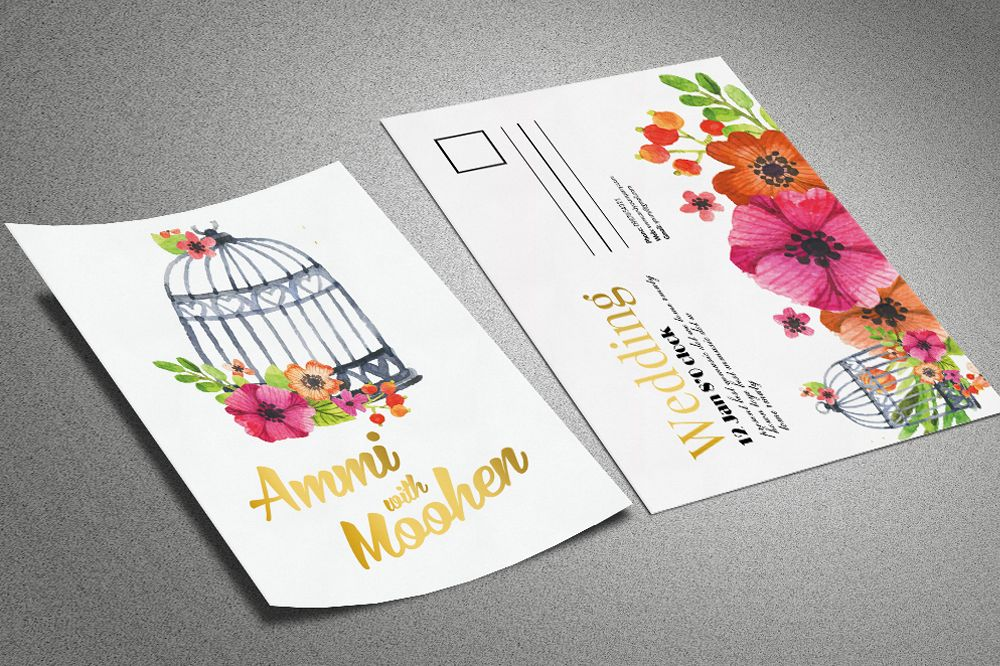 Floral Marriage Postcard Template example image 1