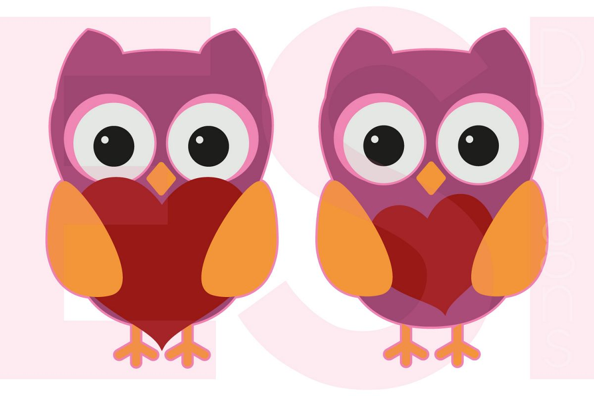 Owls with Hearts - Valentines - Love  example image 1