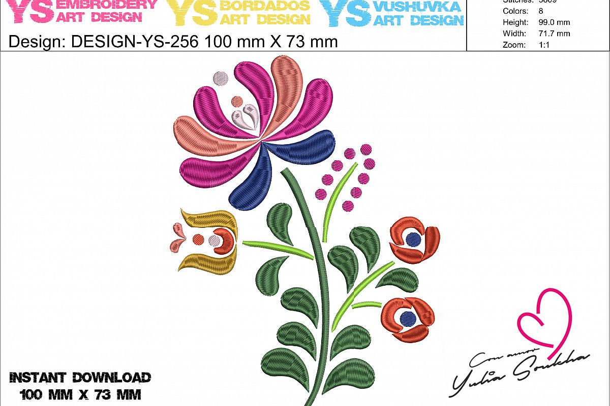 Flower JAZ embroidery design, 100 x 72 mm embroidery matrix, different sizes embroidery design Embroidery matrix, Mexican design example image 1
