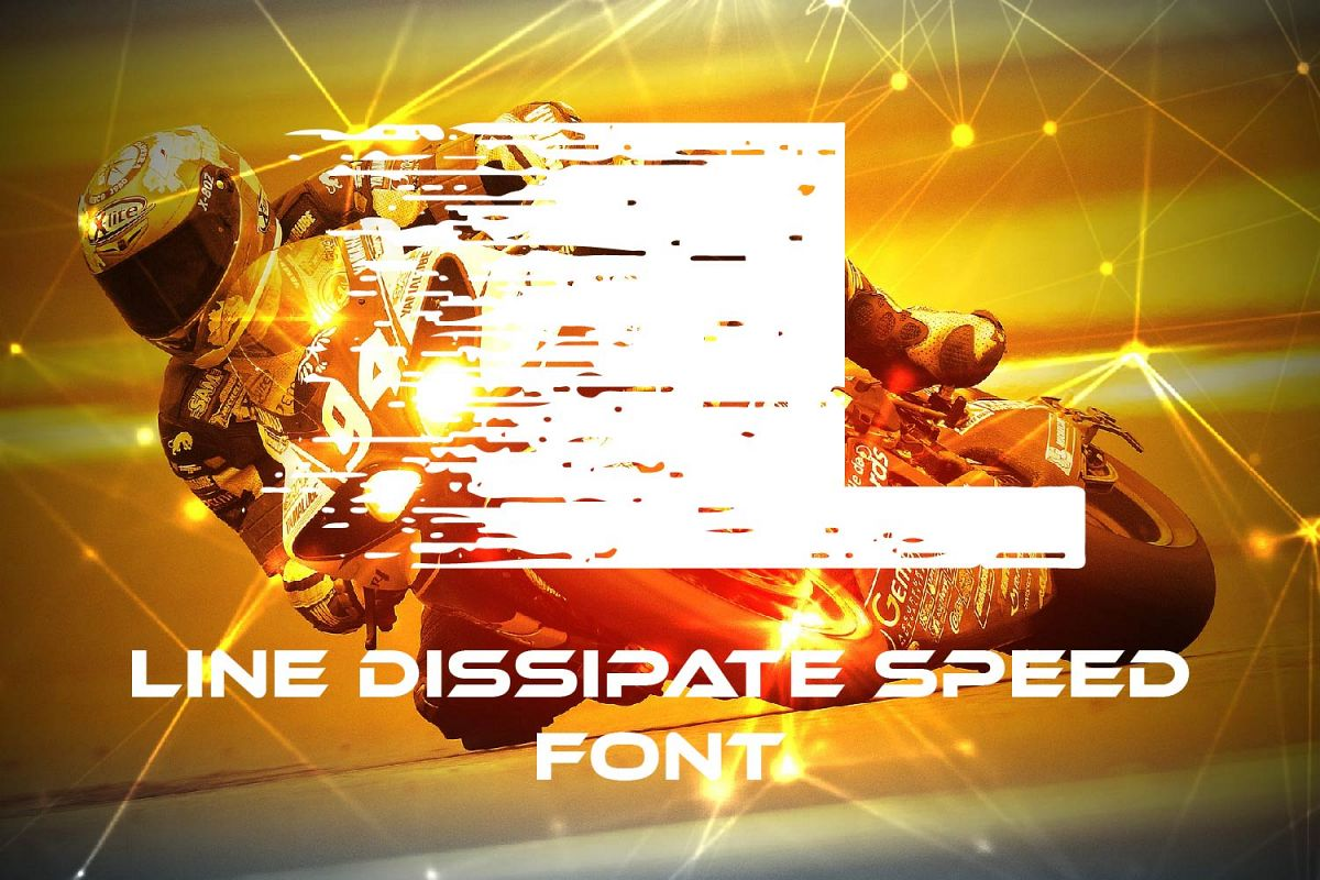 Line Dissipate Speed Font example image 1