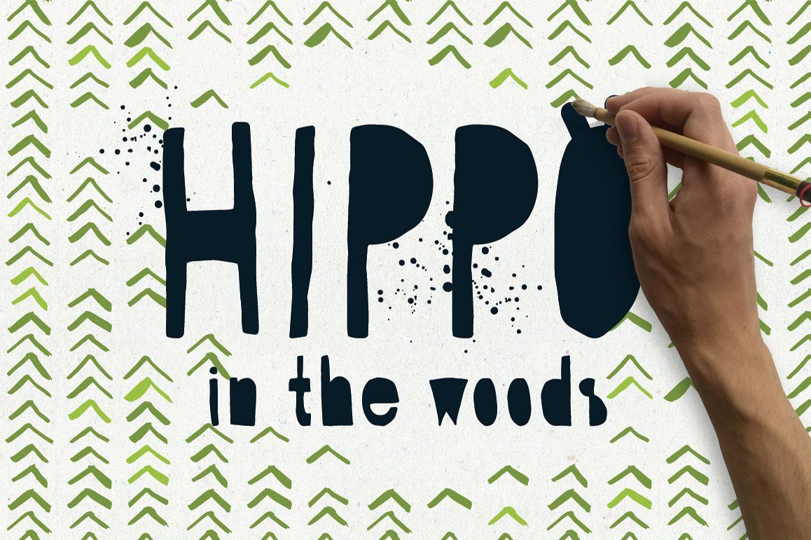 Hippo in the Woods - Organic Font example image 1