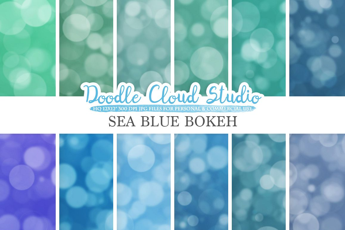 Sea Blue Bokeh digital paper, Sea Blue colors Bokeh Overlay, Bokeh backgrounds, Instant Download, for Personal & Commercial Use example image 1