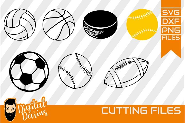 7x Ball Svg, Hobby dxf, Basketball svg, Hockey Puck, Soccer example image 1