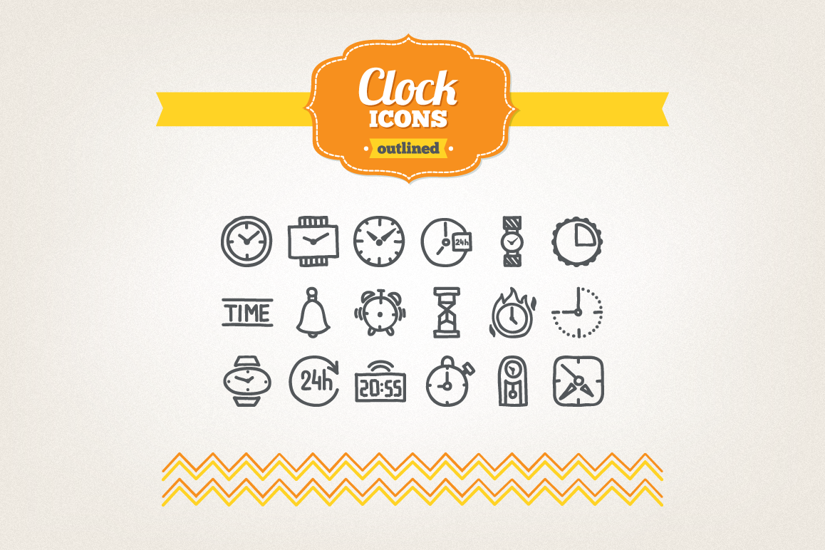 Hand Drawn Clock Icons example image 1