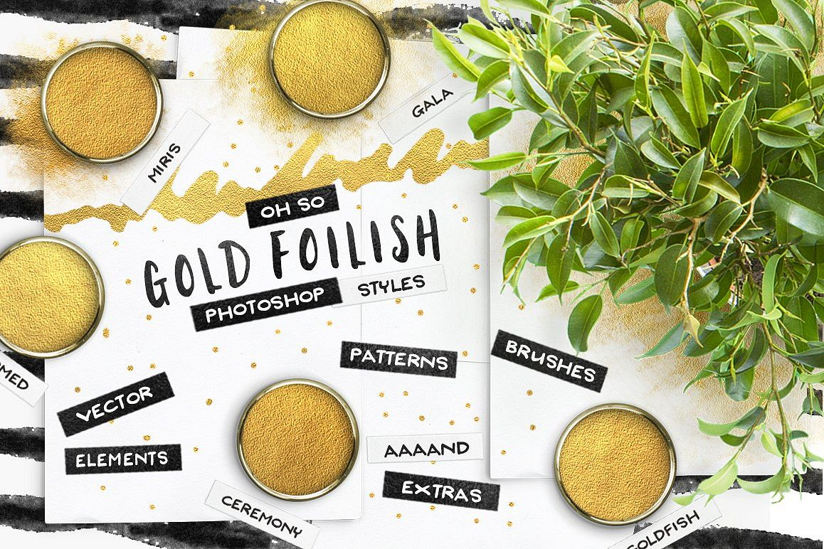 80 Photoshop Gold Foil Layer Styles & Extras example image 1