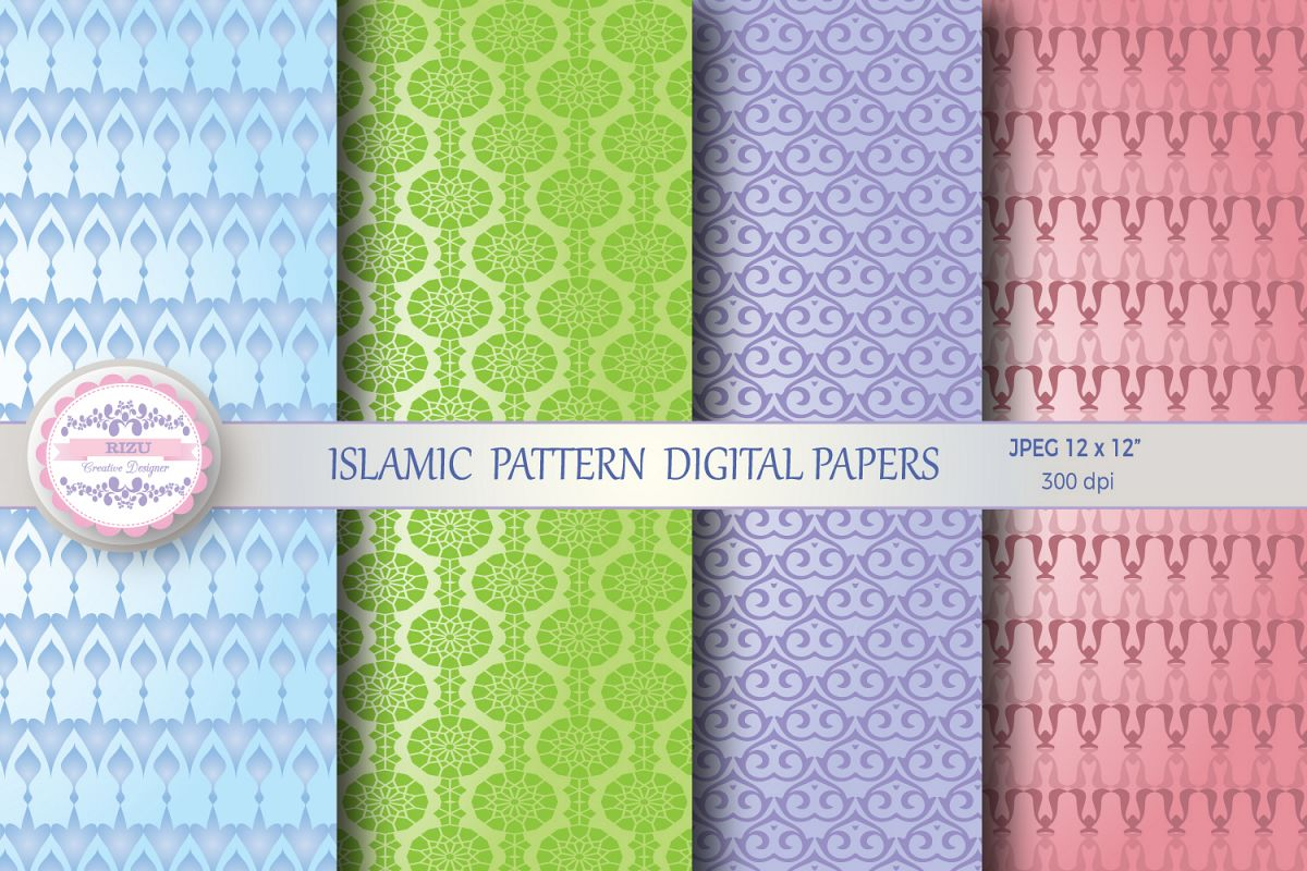 ISLAMIC PATTERN DIGITAL PAPERS example image 1