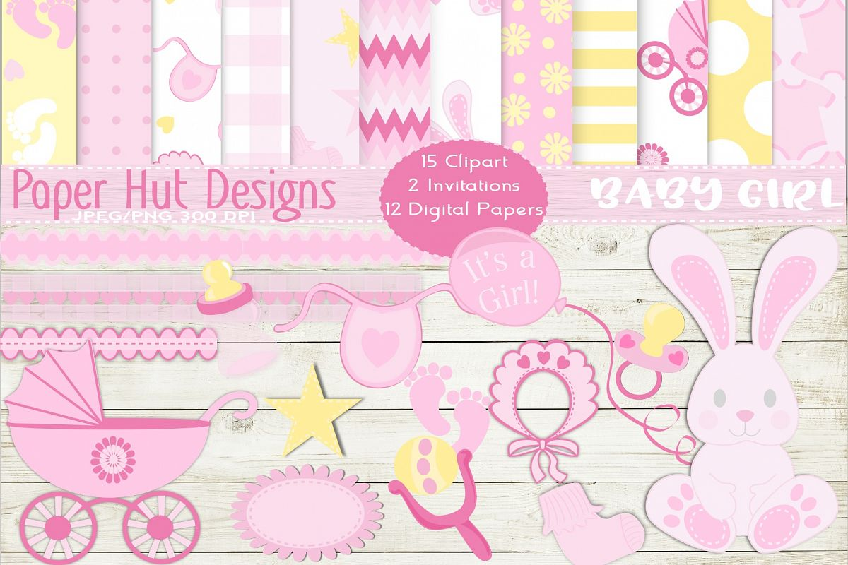 Baby Girl Clipart and Digital Papers Set example image 1