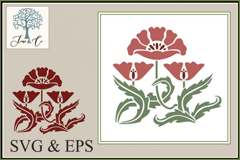 Art Nouveau Flower 1 - Poppies example image 1