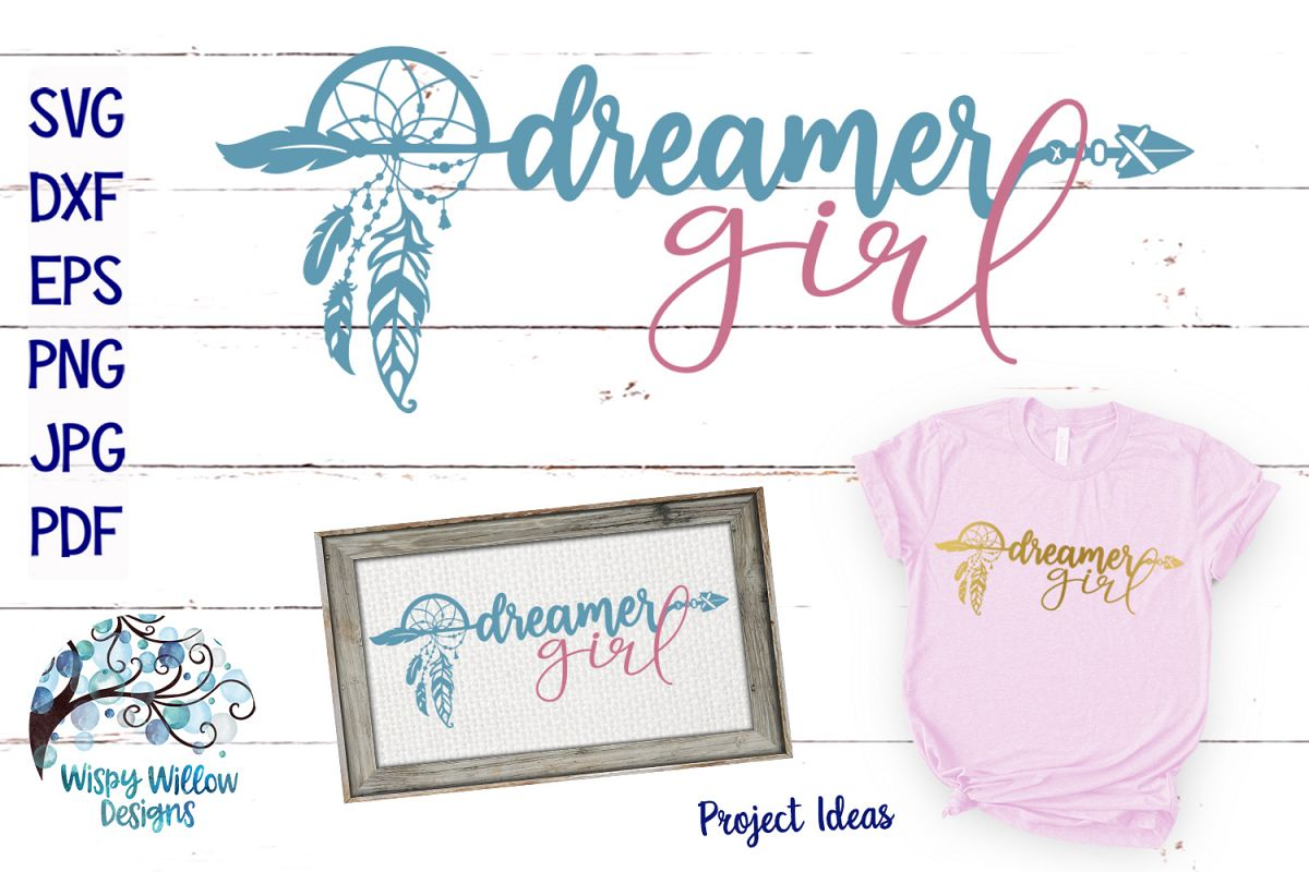 Dreamer Girl SVG | Boho Feather Dream Catcher SVG Cut File example image 1