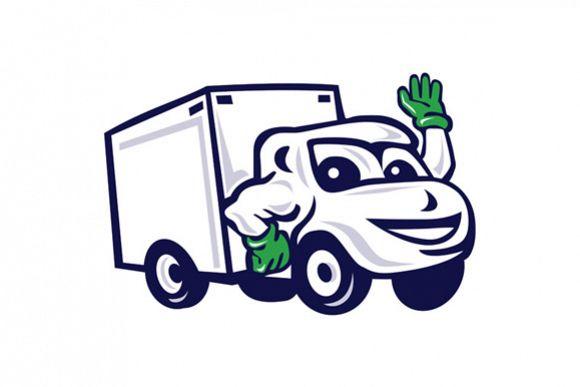 Delivery Van Waving Cartoon example image 1