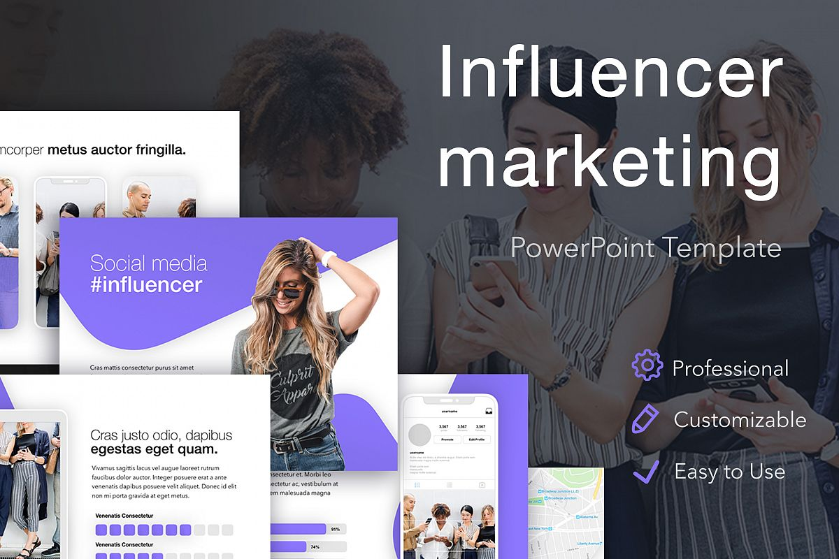 Influencer Marketing PowerPoint Template example image 1