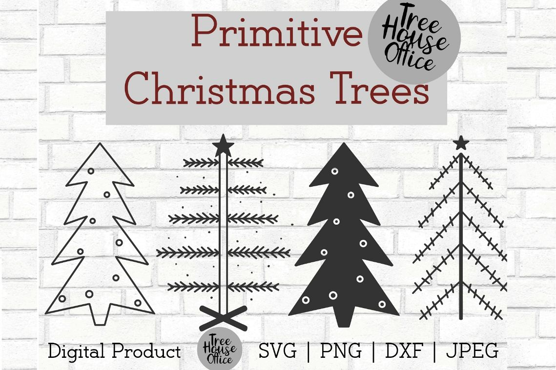Primitive Christmas Trees, Simple Christmas SVG PNG DXF JPEG example image 1
