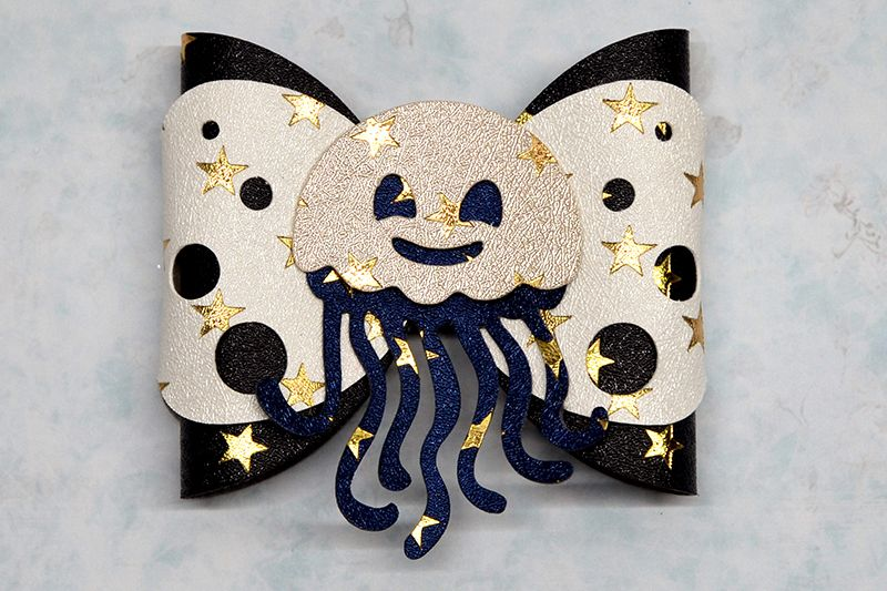 Jellyfish Hair bow template SVG, DIY leather bow template example image 1