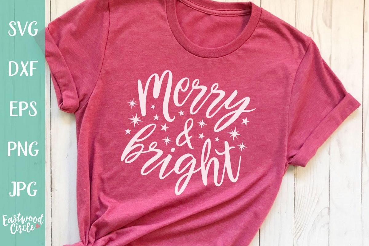 Merry and Bright - Christmas SVG File example image 1