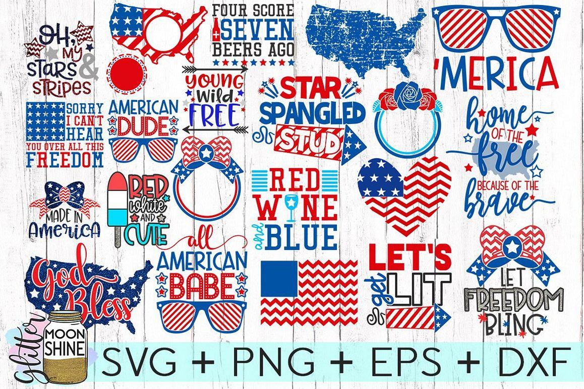 Huge 4th Of July Design Bundle of 23 SVG DXF PNG EPS example image 1