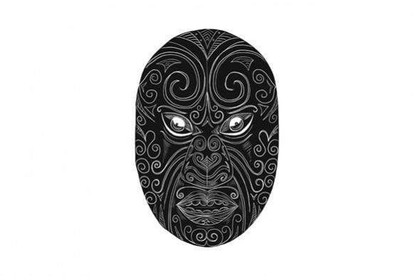 Maori Mask Scratchboard example image 1