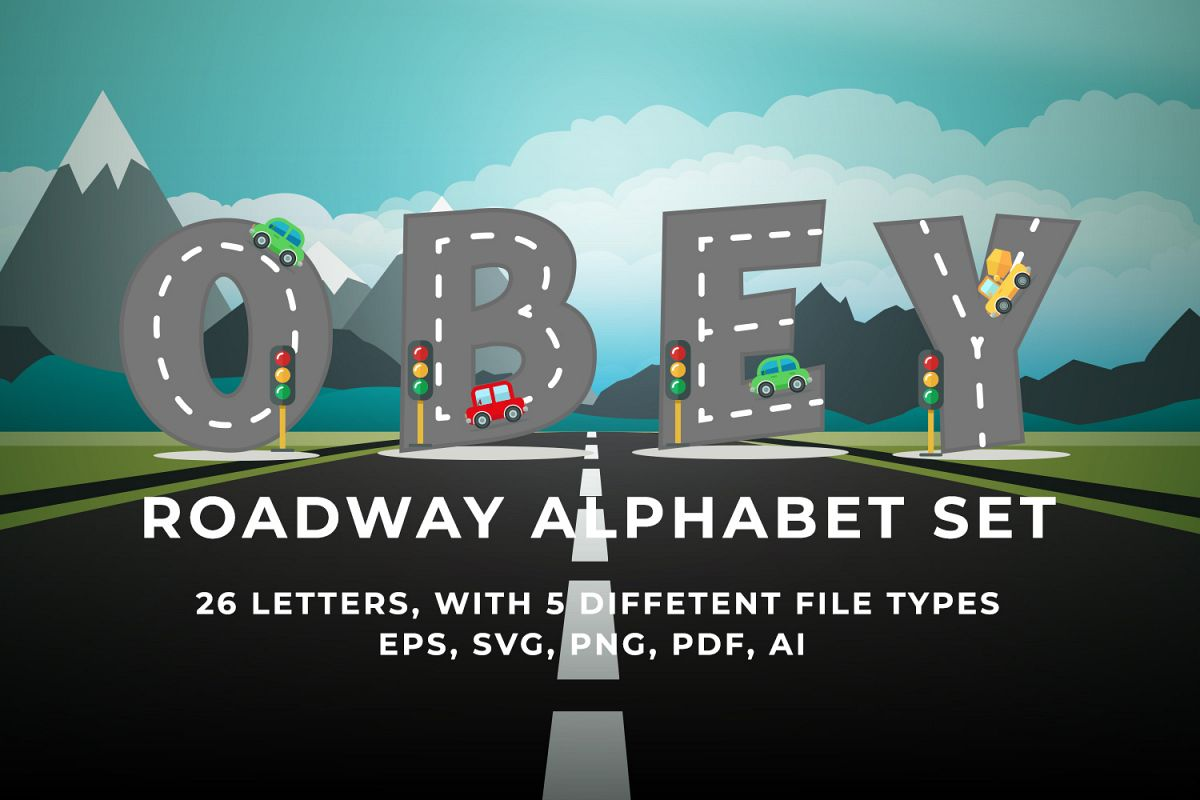 Roadway Alphabet Set example image 1