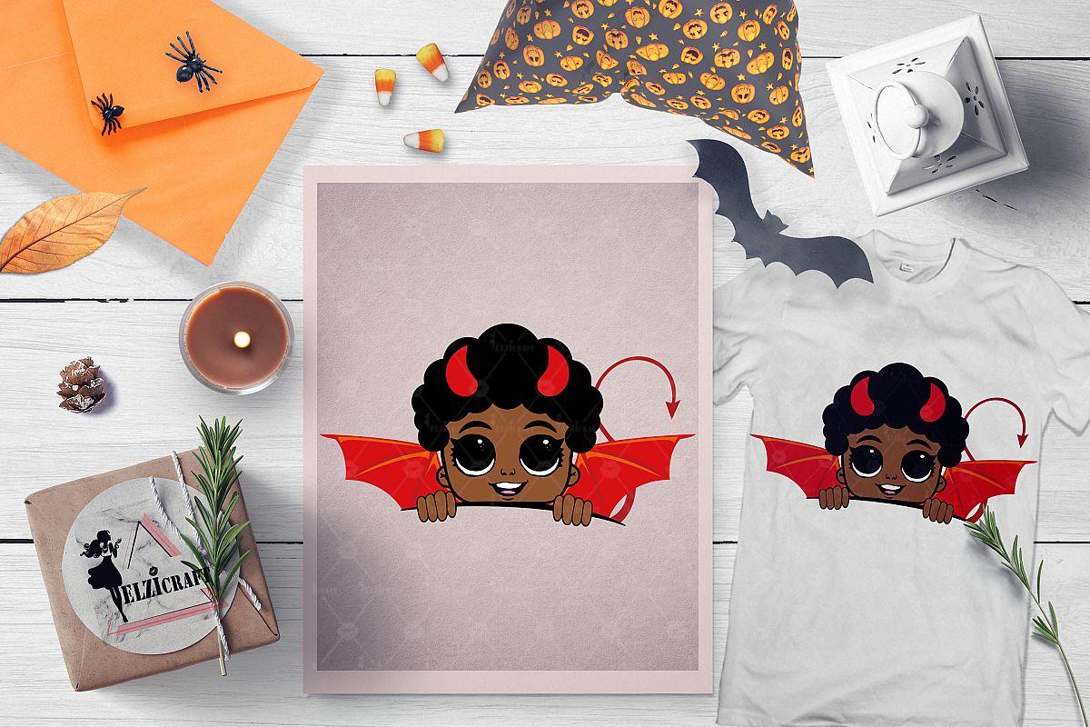 Halloween Afro Peeking Little Devil Boy SVG Cut File example image 1