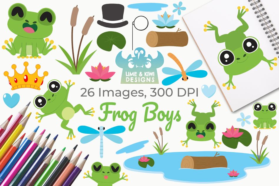 Frog Boys Clipart, Instant Download Vector Art example image 1