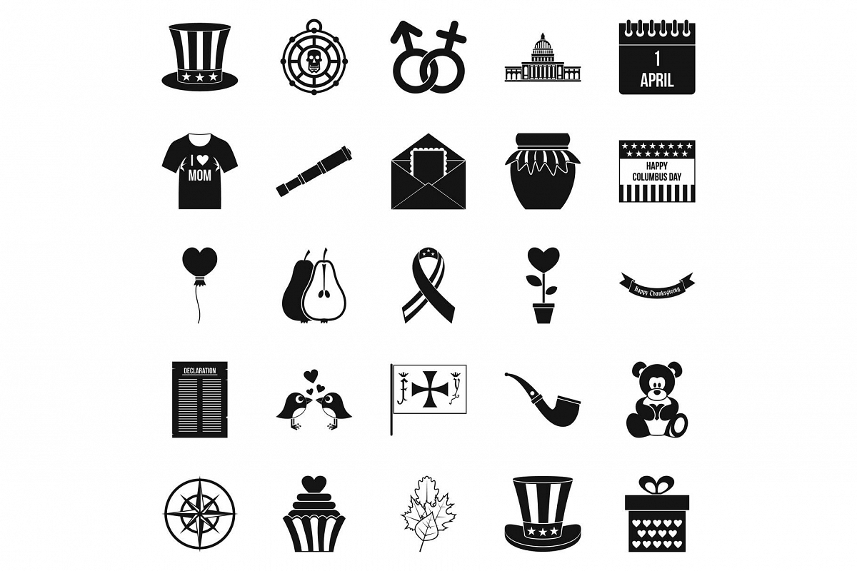 Menology icons set, simple style example image 1