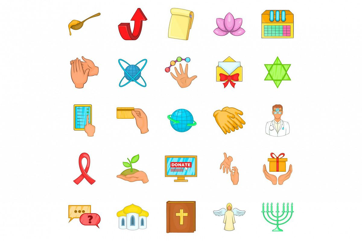 Philanthropy icons set, cartoon style example image 1