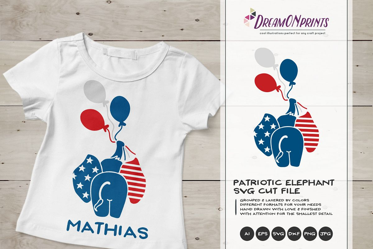Patriotic SVG Cut File | Elephant with Balloons example image 1