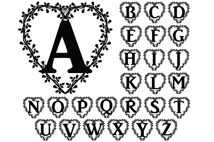 Floral Heart Alphabet SVG, Floral Heart Letters SVG Cut File example image 1
