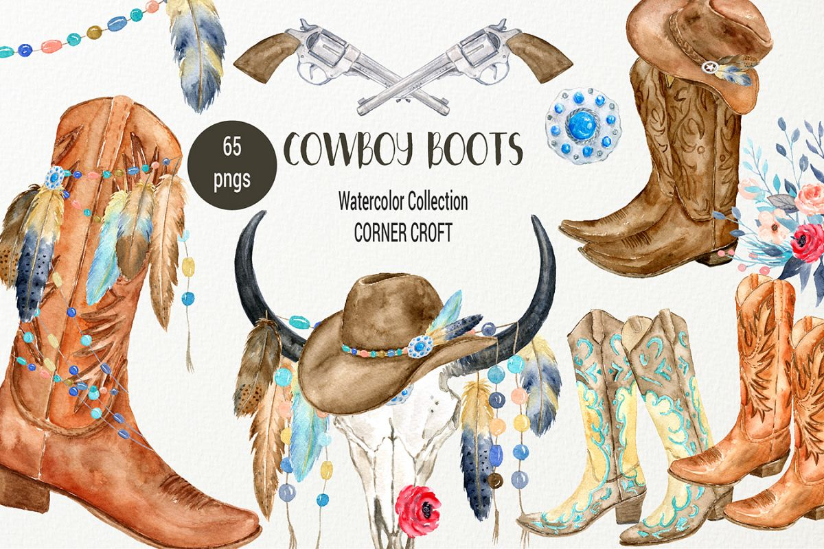 Watercolor Collection Cowboy Boots And Boho Skull