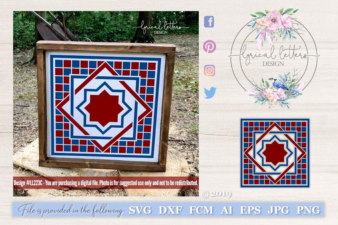 Barn Quilt Pattern Design 3 SVG DXF FCM LL223C example image 1