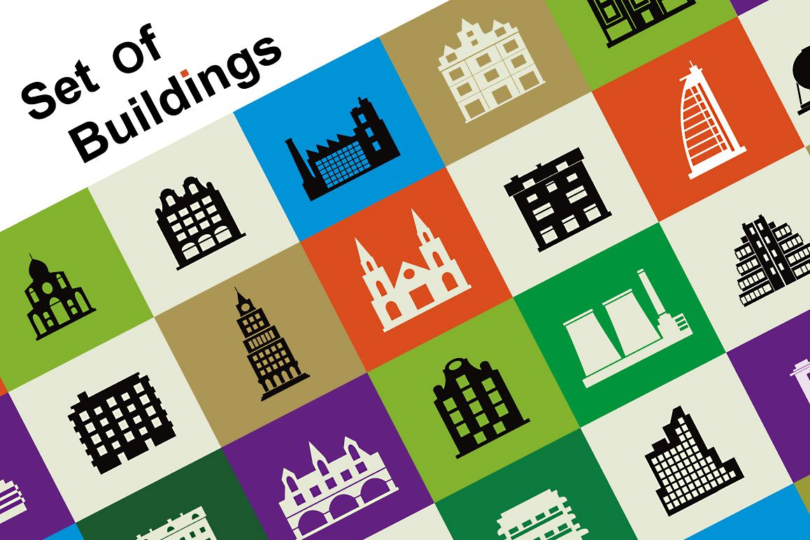 Set of vector buildings example image 1