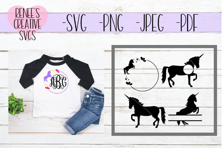 Unicorn Monogram Set | Unicorns | SVG Cutting File example image 1