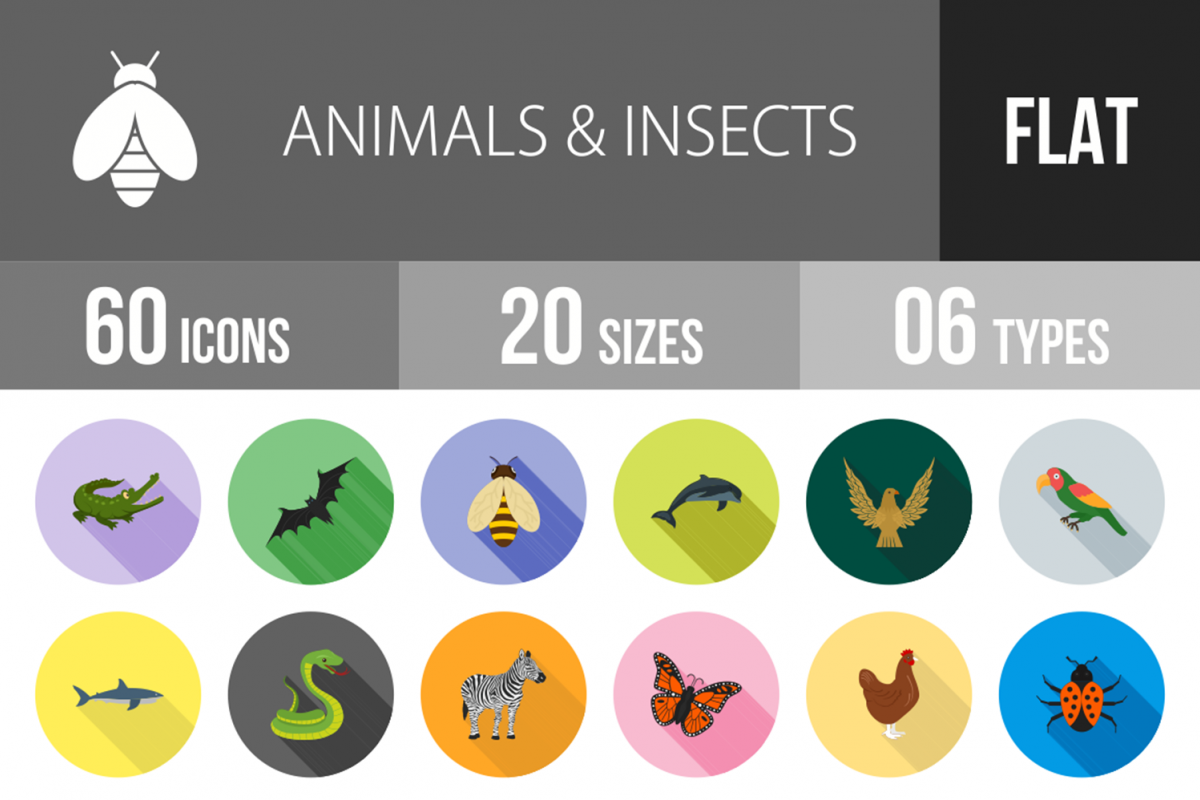 60 Animals & Insects Flat Long Shadow Icons example image 1