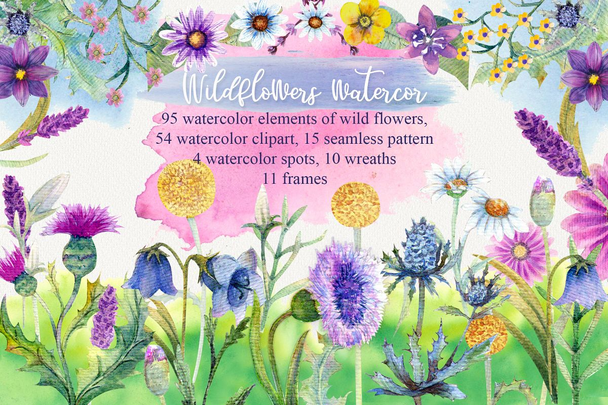 Wild flowers watercolor example image 1