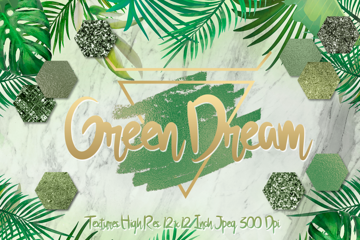 Green Dream digital papers textures, background, invitation example image 1