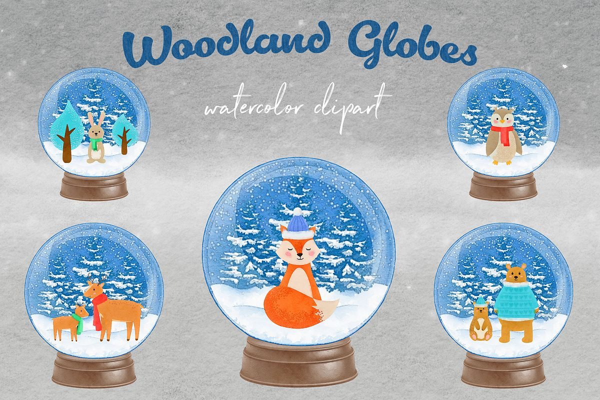 Watercolor Woodland Snow Globes, Woodland Animal Clipart example image 1