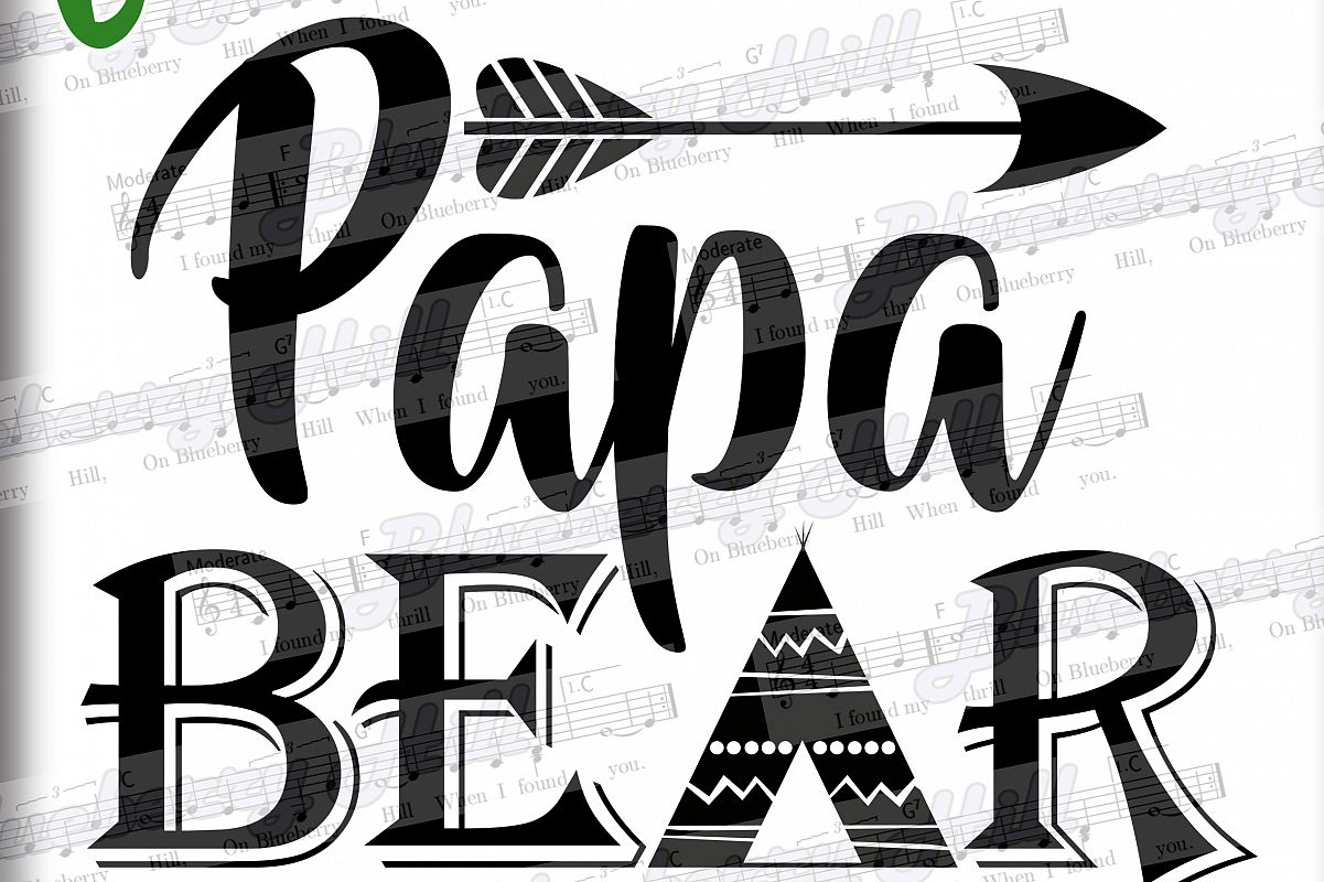 Papa bear SVG - Papa svg digital - Papa Bear with Arrow example image 1