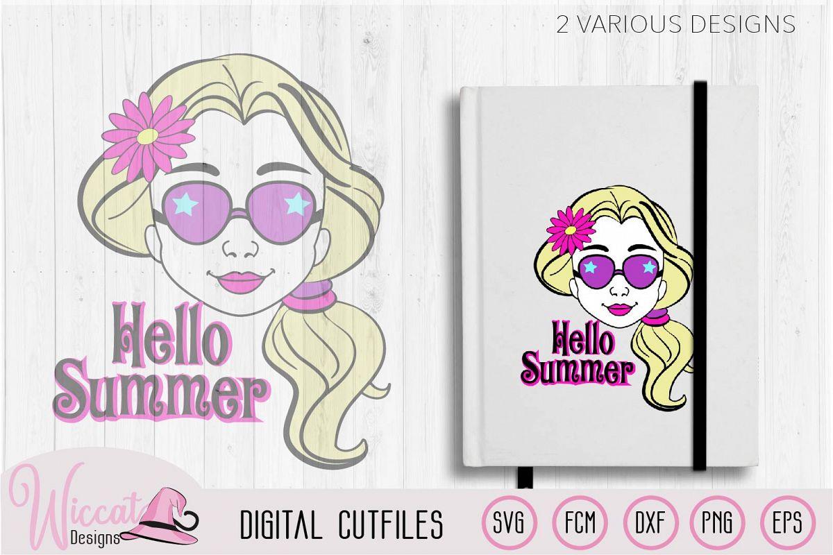 Summer girl, Cool girl, Hello summer, flower girl cut file example image 1
