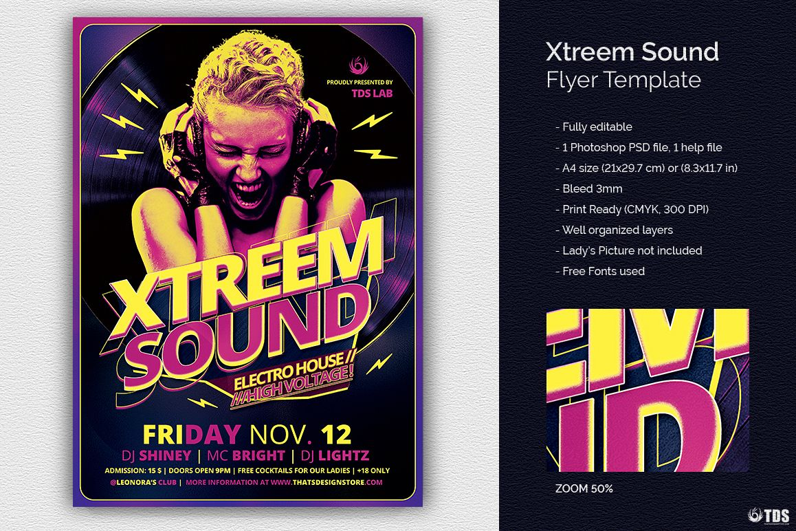 Xtreem Sound Flyer Template example image 1