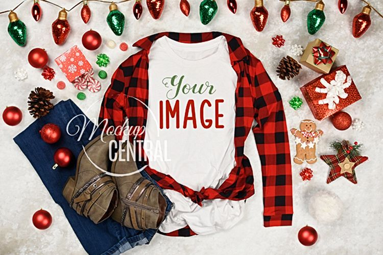 Women's Blank White T-Shirt Christmas Winter Shirt Mock Up example image 1