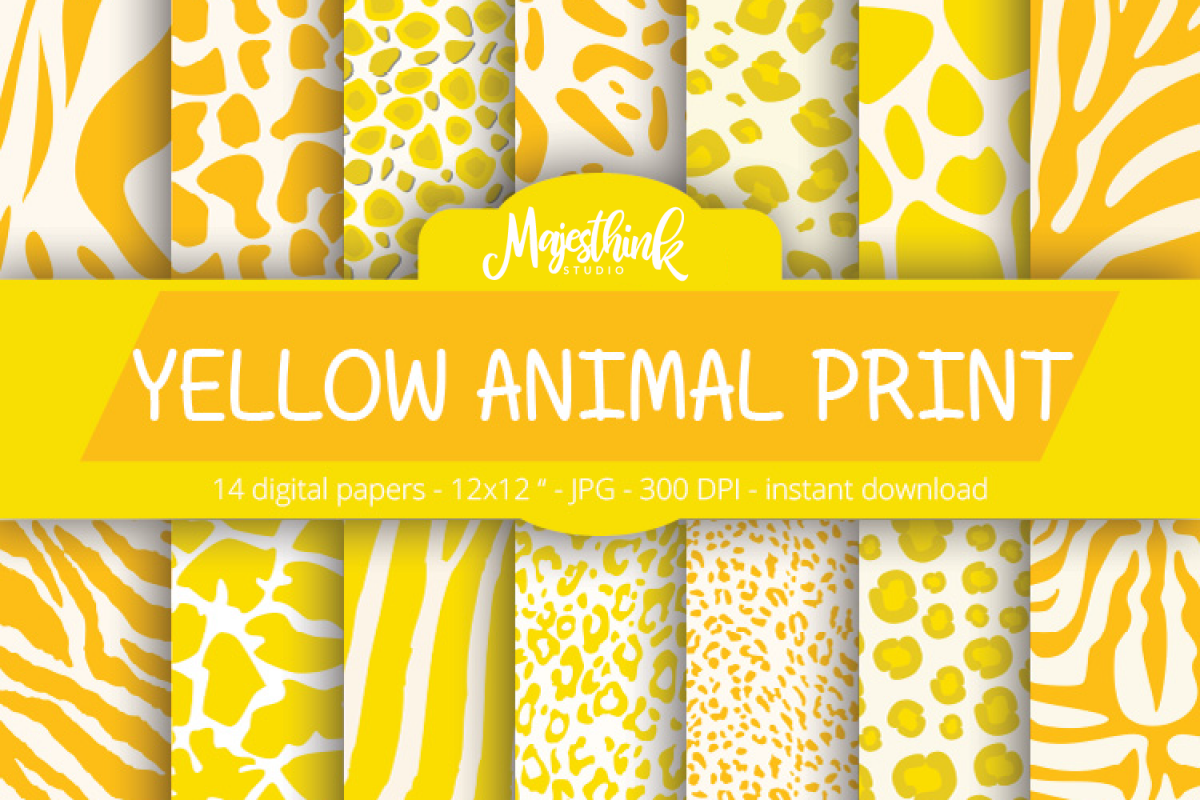 Yellow Animal Print Digital Paper With Zebra Tiger Leopard