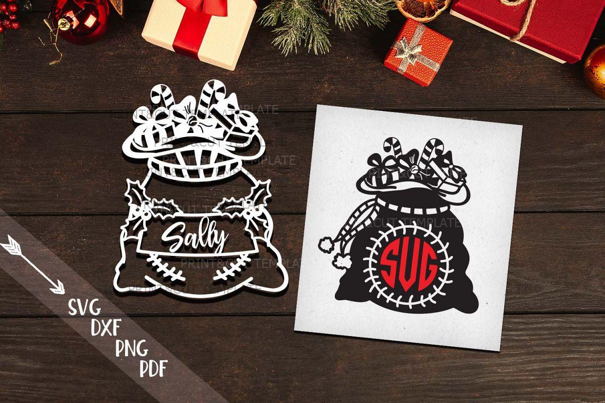Christmas Santa sack monogram set svg dxf pdf cutting files example image 1