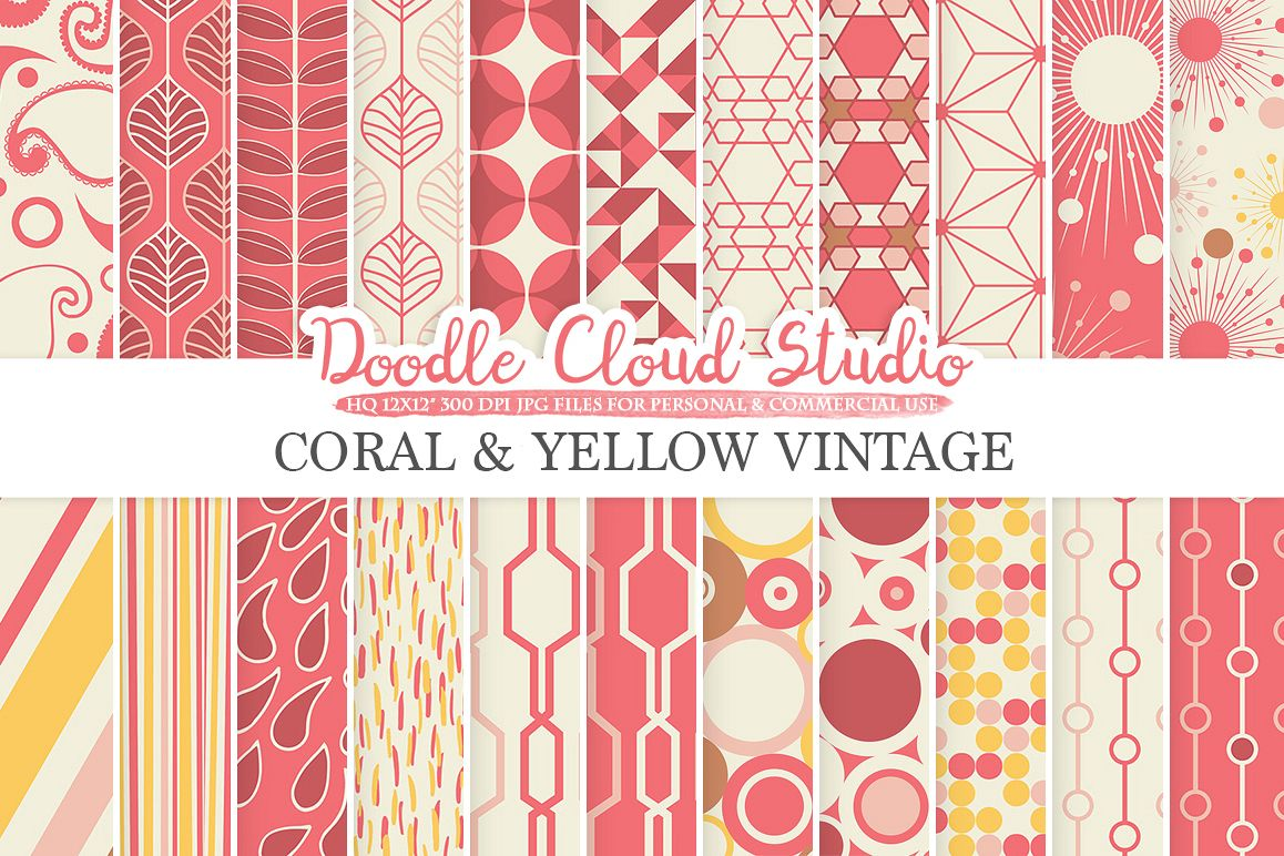 Coral and Yellow Retro digital paper Geometric Vintage patterns Coral Pink Yellow Brown digital backgrounds for Personal & Commercial Use example image 1