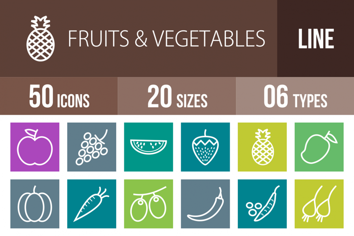 50 Fruits & Vegetables Line Multicolor B/G Icons example image 1