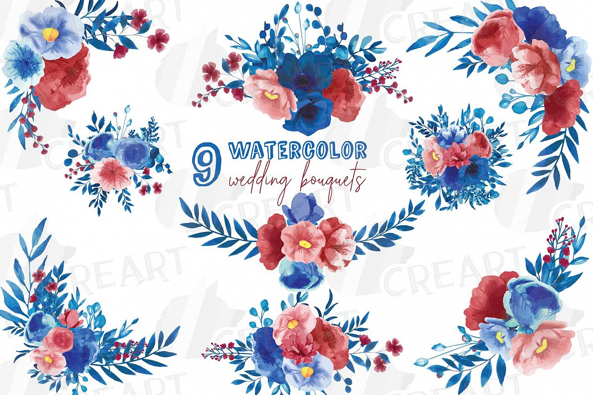 Royal Blue And Red Floral Watercolor Wedding Bouquets Png