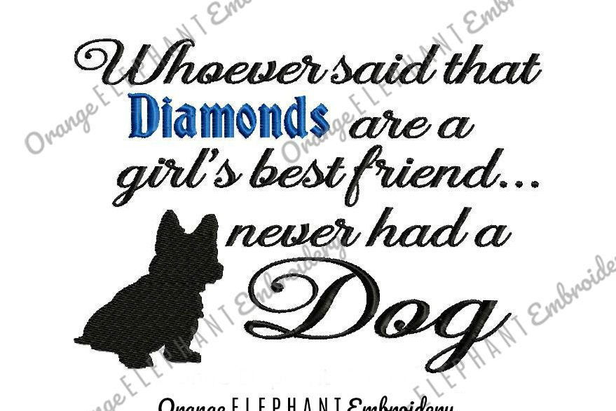 Diamond Dog Unique Urban Machine Embroidery Design digital File  example image 1
