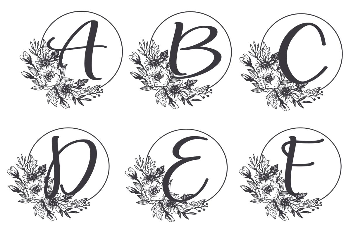 Monogram Alphabet with Floral Design. Flower Monogram example image 1