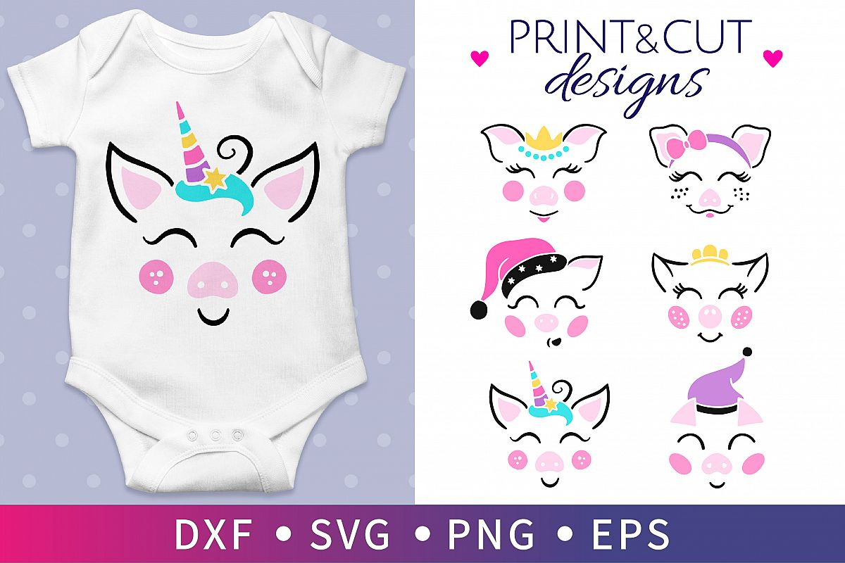 6 Pig party SVG, Unicorn clipart SVG, Baby Birthday SVG example image 1