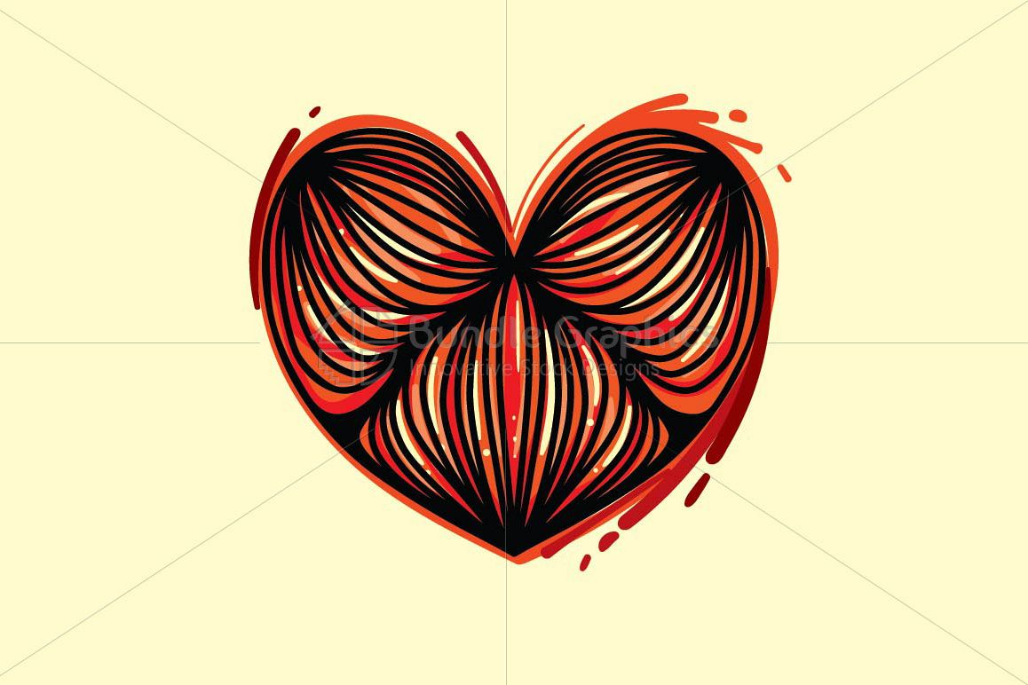 Cute Heart - Creative Linear Graphics example image 1
